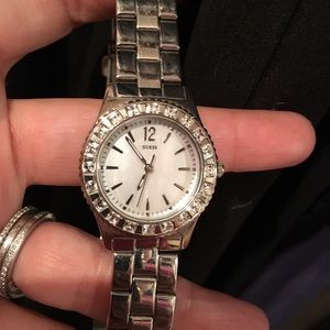 Guess Watch With Crystals and Mother of Pearl Face